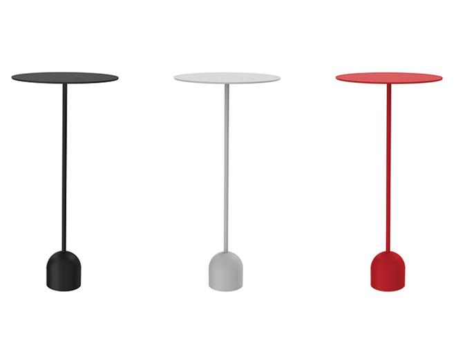 ronde design bijzettafel zwart wit rood